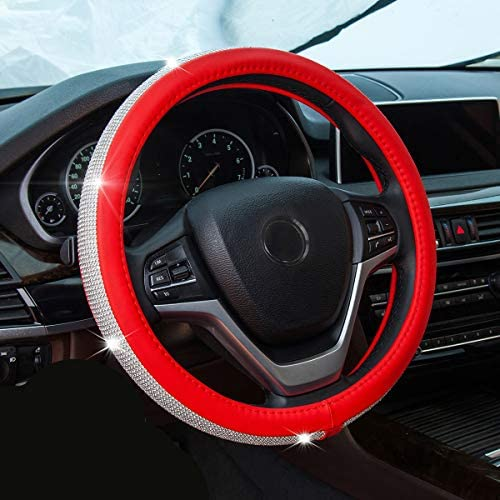 New Diamond Leather Steering Wheel Cover with Bling Bling Crystal Rhinestones, Universal Fit 15 Inch Anti-Slip Wheel Protector for Women Girls,Red