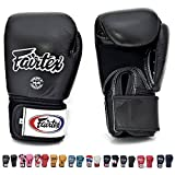 Fairtex Muay Thai - Boxing Gloves. BGV1 - Breathable. Color: Solid Black. Size: 12 14 16 oz. Training, Sparring Gloves for Boxing, Kick Boxing, MMA (Black, 16 oz)