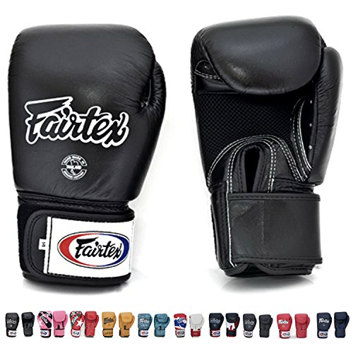 Fairtex Muay Thai Boxing Gloves BGV1 BR Breathable Black Size: 16 Oz. Training Gloves for Kickboxing MMA K1