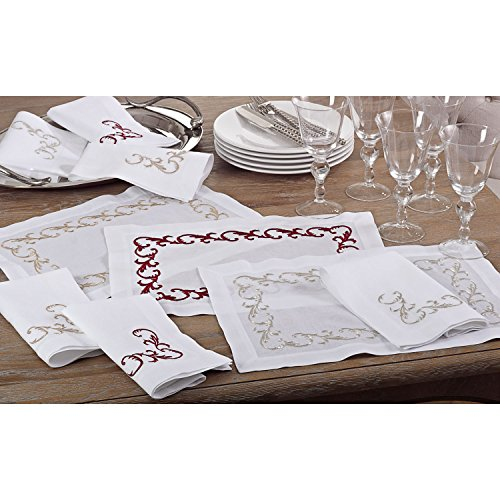 Occasion Gallery White Cloth Napkins with Red Metallic Embroidered Scroll Design Accents (Set of 4), 20