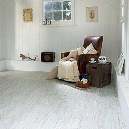 Kingfisher Store Camaro White Limed Oak Wood Effect Vinyl Floor
