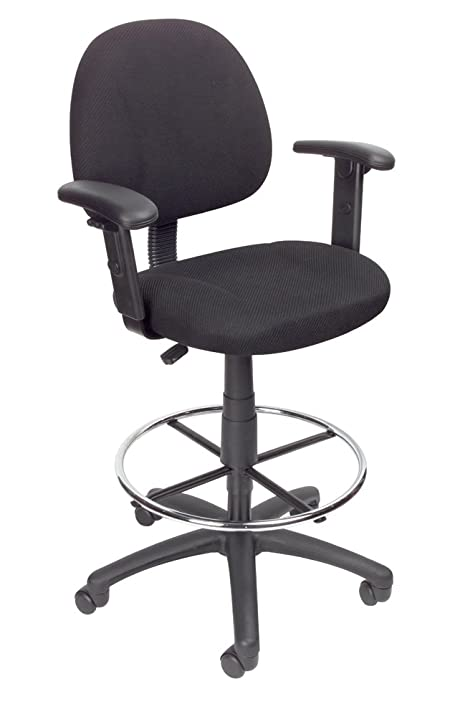 Boss Office Products B1616 BK Ergonomic Works Drafting Chair With  Adjustable Arms In Black