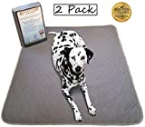 Kluein Pet Reusable Washable Pee Pads, Grey 2-Pack XXL 36x41 Puppy Training Pads, Whelping, Playpen Mat, Travel Pad, Waterproof Barrier