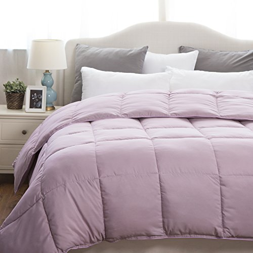 Solid Comforter Twin Size Purple Lavender Duvet Insert with Corner Ties Box Stitching Down Alternative 68x88 by Bedsure