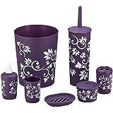 durable 7 piece printed bathroom set in purple