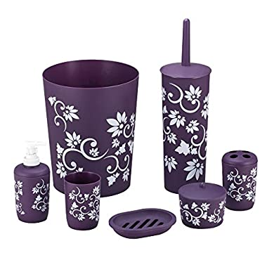 Durable 7 piece Printed Bathroom Set in Purple