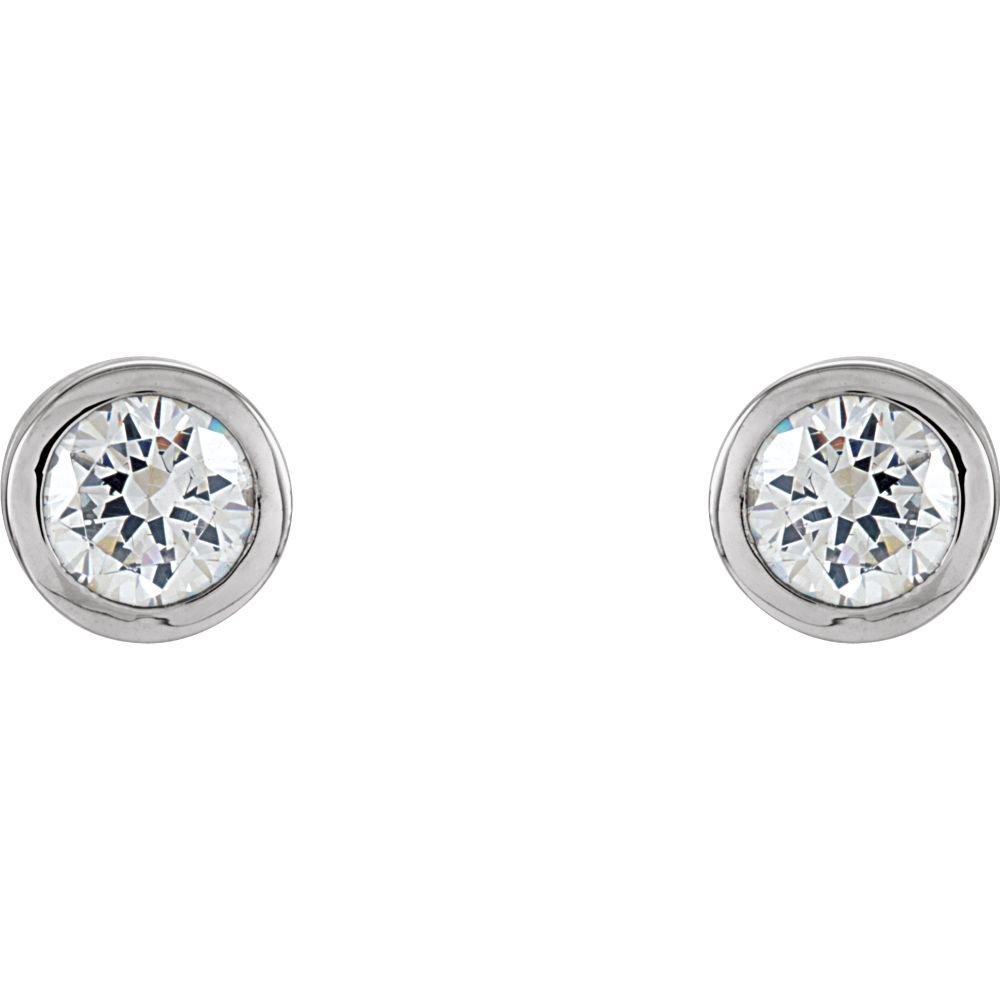 Bezel Set Solitaire Earrings