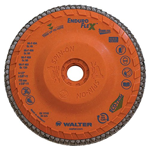 Walter Enduro-Flex Stainless Flap Disc, 4-1/2' diameter, 60 grit, Type 29, 5/8'-11 Thread Size, Trimmable wood fiber Backing, Zirconia Alumina (Pack of 10) 4-1/2 diameter 5/8-11 Thread Size WALTER SURFACE TECHNOLOGIES 06F456