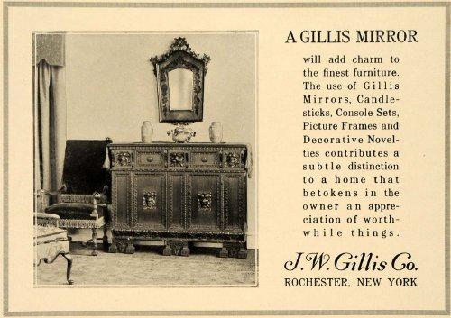 1919 Ad J. W. Gillis Mirror Console Candlestick Decor - Original Print Ad from PeriodPaper LLC-Collectible Original Print Archive