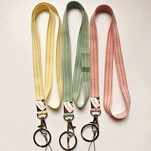 3 Pcs Pack Women's and Girl's Handmade Woven Yarn Dyed Neck Lanyard with Strong Clip and Key Ring, Great for attaching Keys, ID cards, USB drives and Other Electronic Devices-Pink/Green/Yellow Lanyard Home
