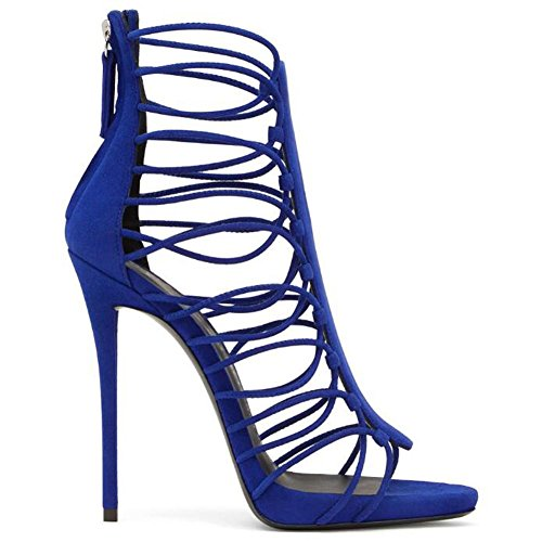 Women Heels Sandals Tied Ladies Blue 38 Toe With YC High GL Party Yellow Banquet blue Wedding Summer 8wqxX5A1