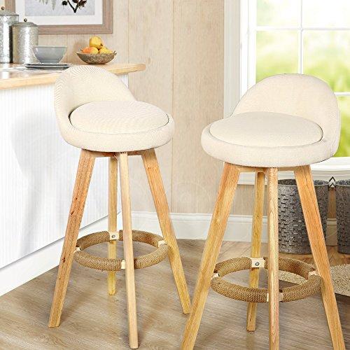Modern Wooden Bar Stool (Modern Set of 2 Wooden Bar Stools Leather or Fabric Swivel Pub Chair Cream (Fabric))