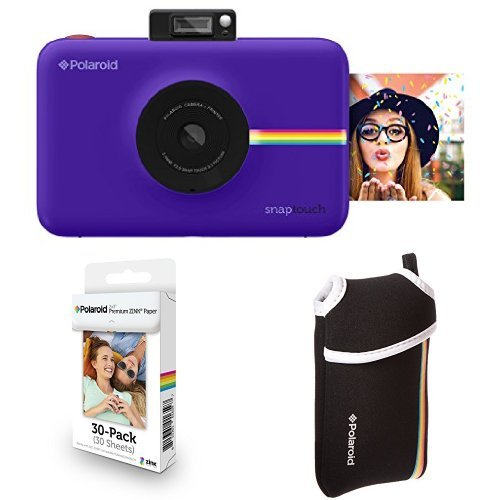 Polaroid Snap Touch Instant Print Digital Camera With LCD Display (Purple with Zink Zero Ink Printing Technology w/ Starter Kit, ZINK Paper (30 Sheets), and Neoprene Protective (Film Starter)
