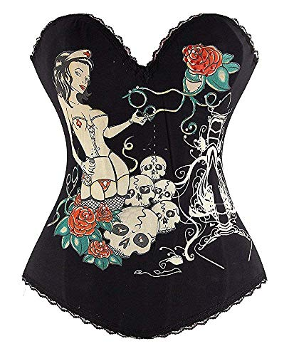 (Ancoset Women's Sexy Trim Magic Flattering Tattoo Heart Printed Rhinestone with Lace Overbust Corset Skull-Black M/Waist:24-26inch(US Size 4-6))