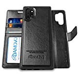 Galaxy Note 10+ Wallet Case [2 in 1 Detachable] AMOVO Vegan Leather Case for Samsung Galaxy Note 10 Plus (6.8'') [Wrist Strap] Note 10 Pro Flip Case with Gift Box Package (Note10+ (6.8'') Black)