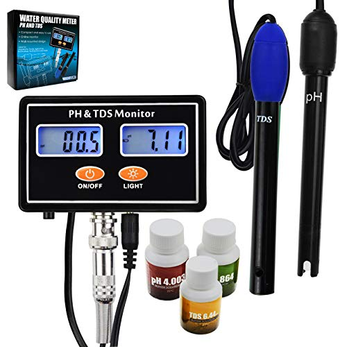 - Digital pH & TDS Combo 2 in 1 Probe Rechargeable Water Quality Real-time Combo Monitor Meter Tester ATC 0.00~14.00pH & 0.0~199.9ppt for Aquaculture, Salinity, Aquarium, Pond, Hydroponics