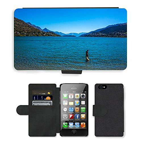 Just Phone Cases PU Leather Flip Custodia Protettiva Case Cover per // M00127591 Parc de la Paix lac Wapatiku Queenstown // Apple iPhone 4 4S 4G