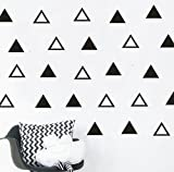 64pcs/set Modern Vinyl Triangles Wall Decal Solid /Outline triangles Pattern Wall sticker DIY Home Decor Kids/ Children Room Decor Stickers YYU-18 (Black)