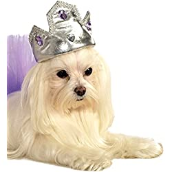 Rubie's Silver Tiara with Purple Stones Pet Costume Accessory, Small/Medium