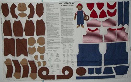 Vintage My Little Pal Monkey Cutout 100% Cotton Fabric Panel.