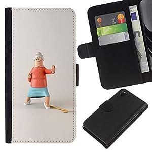 ZCell / Sony Xperia Z3 D6603 / Action Grandma Funny Stop Kung Fu / Caso Shell Armor Funda Case Cover Wallet / Acción abuela divertido Stop
