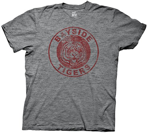 Saved by the Bell Bayside Tigers Mens Soft Grey Tri-Blend T-shirt - Tigers Bell Bayside