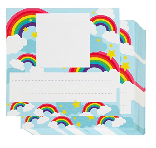 Desk Nameplates with Photo Spot - 60-Pack Colorful Desktop Reference Name Plates with Space for Pictures, Rainbow Designs, Paper Name Tags for Teachers, Students, Desk Labeling, 5.25 x 6 inches - Top Student Desk