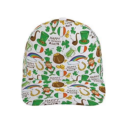 (YOMEYO Irish Clover St. Patrick's Day Lucky Shamrocks Pattern Unisex Baseball Cap Adjustable New Bended Rubber Punk Hat for Men Women Kids )