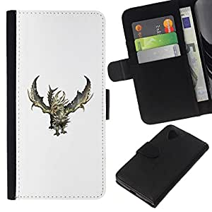 All Phone Most Case / Oferta Especial Cáscara Funda de cuero Monedero Cubierta de proteccion Caso / Wallet Case for LG Nexus 5 D820 D821 // Dragon White Green Monster Fire