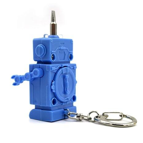 3 en 1 Multifunción Llavero Colgante Creativo Robot LED ...