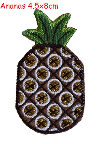 2 Pcs Iron On Embroidered Motif Applique Fish 8x6 and Pineapple 4.5x8 - Glitter Sequin Decoration Patches DIY Sew on Patch for Jeans, clothing embroidery fabric appliques by TrickyBoo Design Zurich -