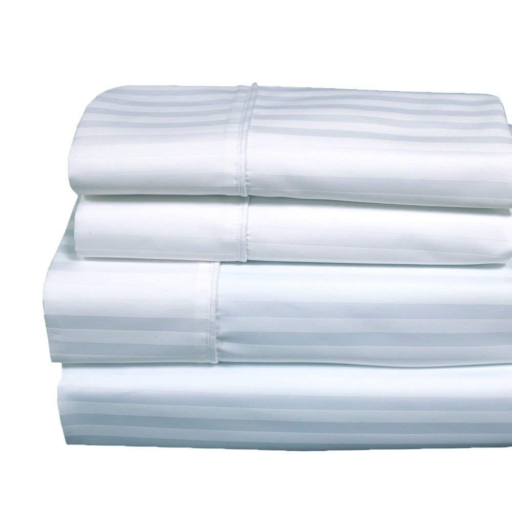 Royal Hotel 620-Thread-Count Sheet Set, Wrinkle-Free Cotton-Blend Sheets, Sateen Striped, Deep Pocket, Queen Size, White
