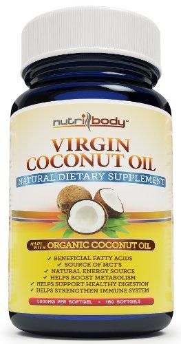nutribody Virgin Coconut Oil Капсулы - 1000 мг в капсуле, 180 Softgels, приготовленные из органических кокосовое масло, естественная потеря веса поддержки, природный источник энергии, поддерживающие здоровый волос и кожи. 100% гарантия возврата денег!