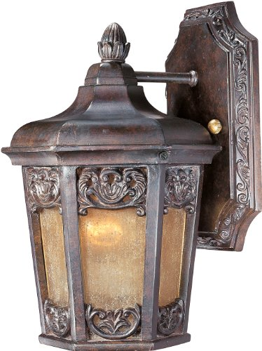 Colonial Umber Finish Chandeliers - Maxim 40172NSCU Lexington VX 1-Light Outdoor Wall Lantern, Colonial Umber Finish, Night Shade Glass, MB Incandescent Incandescent Bulb , 100W Max., Dry Safety Rating, Standard Dimmable, Glass Shade Material, 5750 Rated Lumens