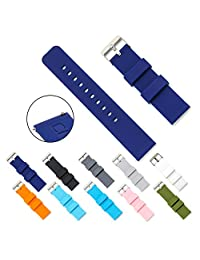 CIVO Quick Release Silicone Watch Bands Soft Rubber Watch Strap Smart Watch Band Stainless Steel Buckle 18mm 20mm 22mm (Navy Blue, 18mm)