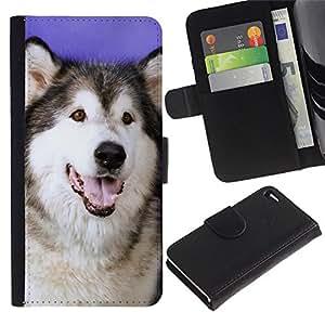 EuroCase - Apple Iphone 4 / 4S - husky Siberian wolf dog canine - Cuero PU Delgado caso cubierta Shell Armor Funda Case Cover