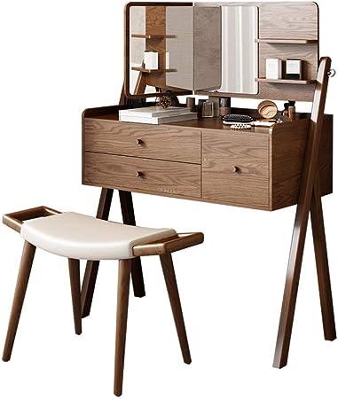 LMCLJJ Vanidad Juego de mesa plegable con espejo y taburete, plegable Unión superior Mirrored grande del organizador del almacenaje for el hogar Dormitorio Cuarto de baño, maquillaje Vestir Juego de m: Amazon.es: