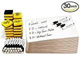 Dry Erase Boards, Ohuhu 30-pack 9 x 12 Inch DOUBLE SIDED Whiteboards Set, Including 30 x Lap Board, 30 x Black Dry Erase Markers, and 30 x White boards Eraser for Teachers, Students, Kids, Classroom