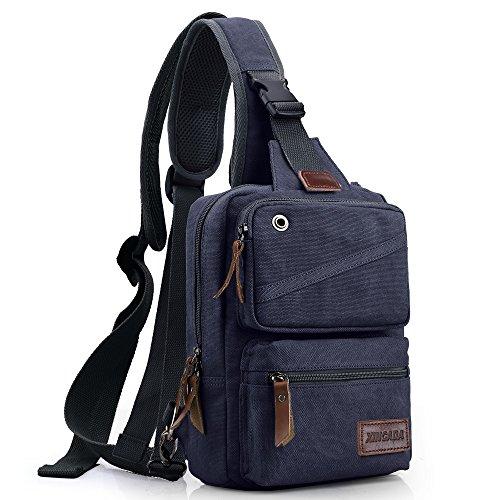 XINCADA Mens Sling Bag Chest Shoulder Bags Canvas Crossbody Backpack Messenger Bag Small Travel Bags (Mens Crossover Shoulder Bag)