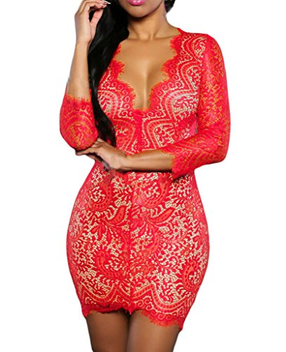 Womens Sexy Lace Deep V Neck Open Back Party Club Mini Dress Small Red