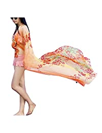 GERINLY Chiffon Sarong Wrap: Spray-Painting Design Plus Size Beach Cover Up