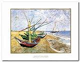 Vincent Van Gogh Fishing Boats on the Beach at Saintes-Maries Wall Decor Art Print Poster (22×28)