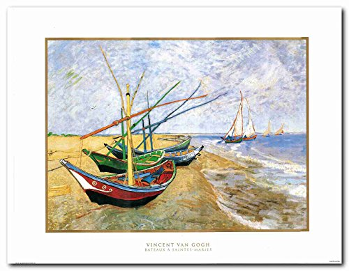 Impact Posters Gallery Wall Decor Art Print Vincent Van Gogh Fishing Boats on The Beach at Saintes-Maries Painting Poster (22x28)