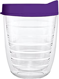 product image for Smile Drinkware USA-Clear 12oz Tritan Insulated Tumbler with Purple Lid and Straw