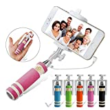 NEW Foldable Super Mini Wired Selfie Stick Handheld Extendable Monopod -Built in Bluetooth Shutter Non-slip Handle Compatible with iphone 4s, 5s, 6, 6 Plus, Samsung Galaxy S3, S4, S5, S6, Note 2, 3, 4, 5, Nexus 5, 6, HTC One