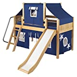 Wow Boy II Deluxe Panel Low Loft Tent Bed with Slide