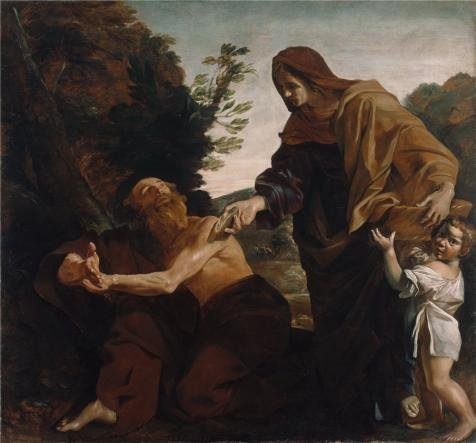 'Elijah Receiving Bread From The Widow Of Zarephath, About 1621 - 1624 By Giovanni Lanfranco' Oil Painting, 30x32 Inch / 76x82 Cm ,printed On High Quality Polyster Canvas ,this High Quality Art Decorative Prints On Canvas Is Perfectly Suitalbe For Nursery Decoration And Home Gallery Art And Gifts