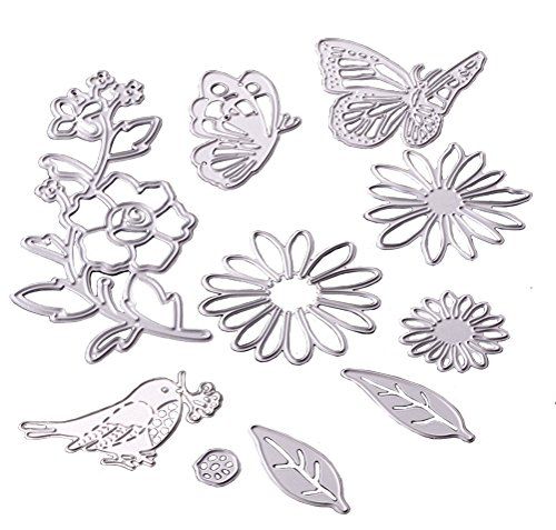 lovielf Floral Flower Bird Butterfly Dies Cutting Stencil Metal Mould Template Accessories Supplies Tool for DIY Craft Card Scrapbook- Set of 10 PCS (Floral)