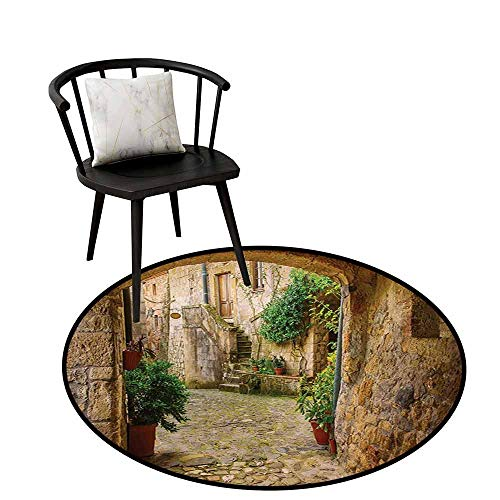 (Round Rugs for Bedroom Scenery Landscape from Another Door Antique Style Stone Village Tuscany Italian Valley Door mat Indoors Bathroom Mats Non Slip D35.4 Multicolor)