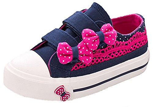 Orlando Johanson New Girls Polka Dots Bowknots Princess Lace Hook-and-Loop Low Top Canvas Shoes Blue 10.5 M US Little Kid - Discount Shopping Orlando